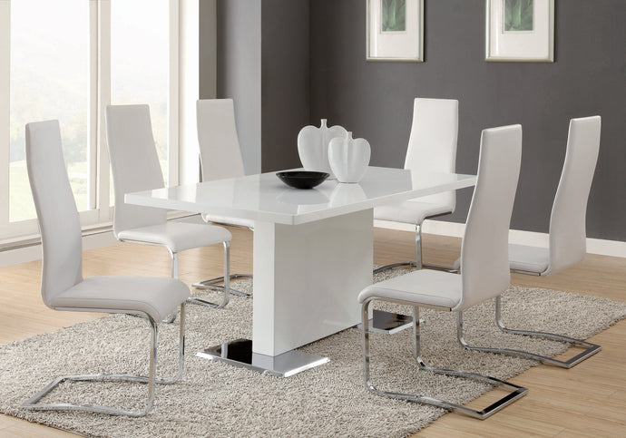 White Chrome Metal Base 5 Piece Dining Room Table Set