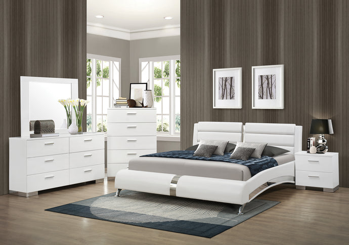 Coaster Felicity Glossy White 4 Piece Queen Bed Bedroom Set