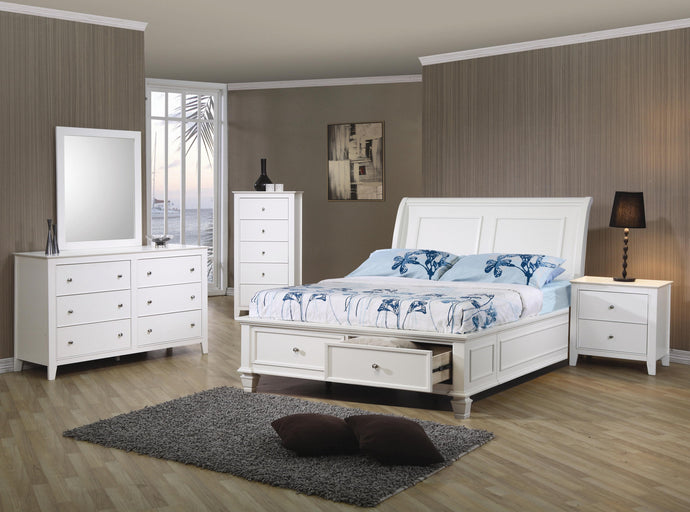 Selena White Full Storage Bedroom Set