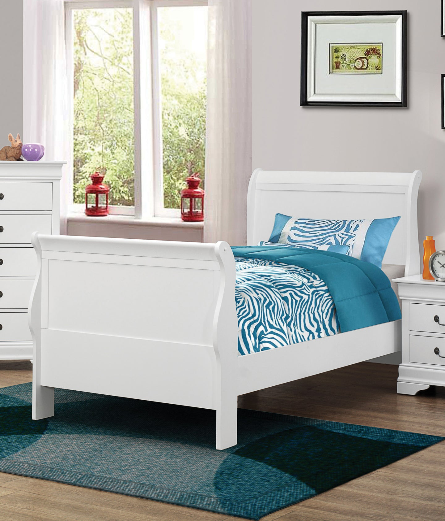 Coaster Louis Philippe White Twin Sleigh Bed