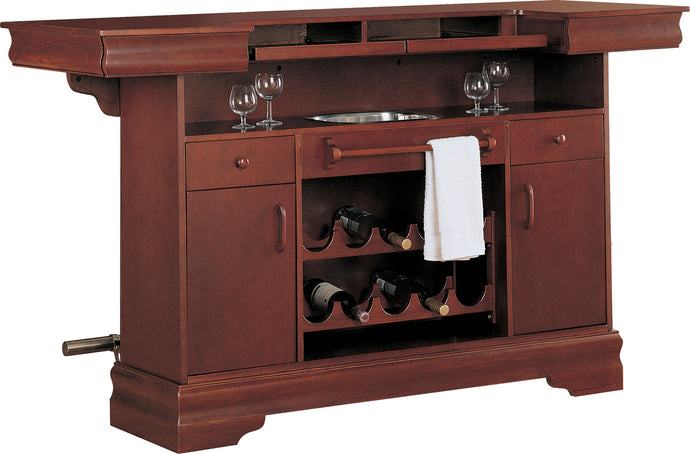 Coaster Traditional Cherry Bar Unit with Wine Rack and Sink