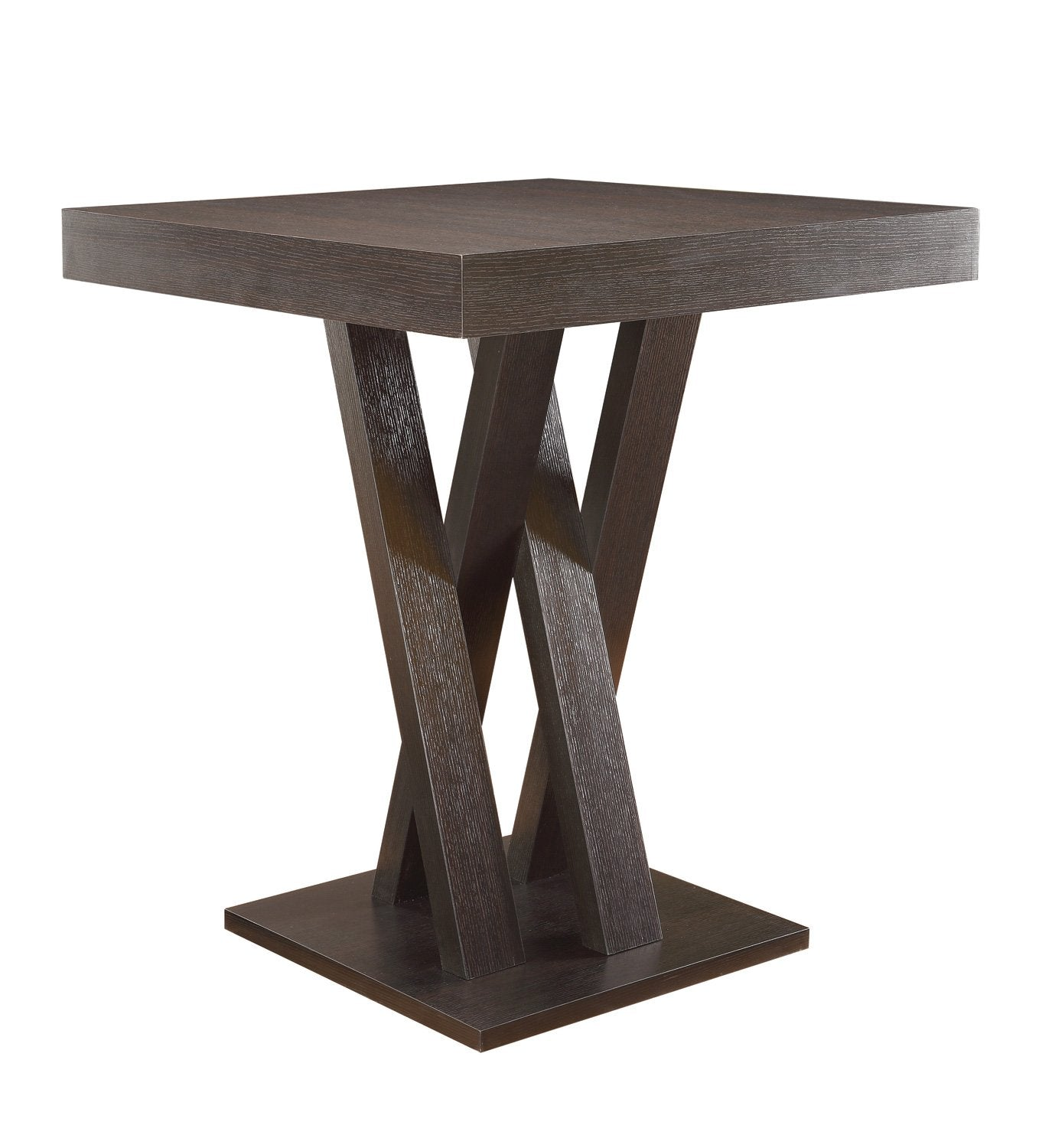 Cappuccino Interlocking Slats Base Counter Height Table