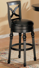 Load image into Gallery viewer, Coaster Black Leather And Wood Finish Swivel Bar Stool