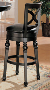 Coaster Black Leather And Wood Finish Swivel Bar Stool