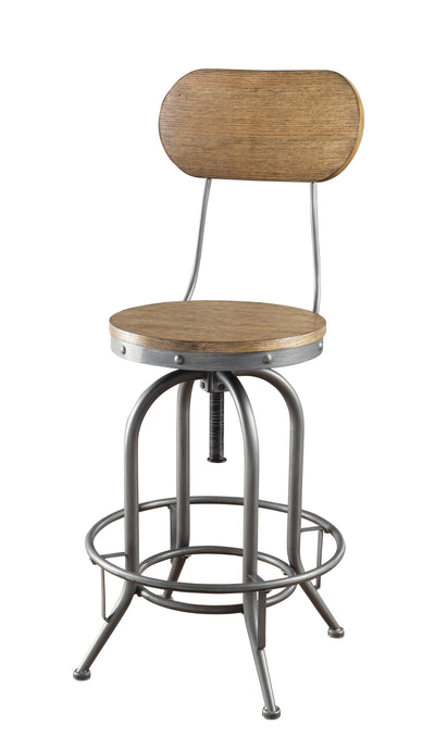 Adjustable Bar Stool with Wood Back and Seat