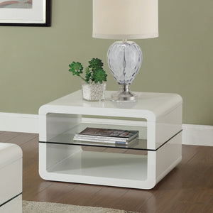 Coaster White End Table with 2 Shelves