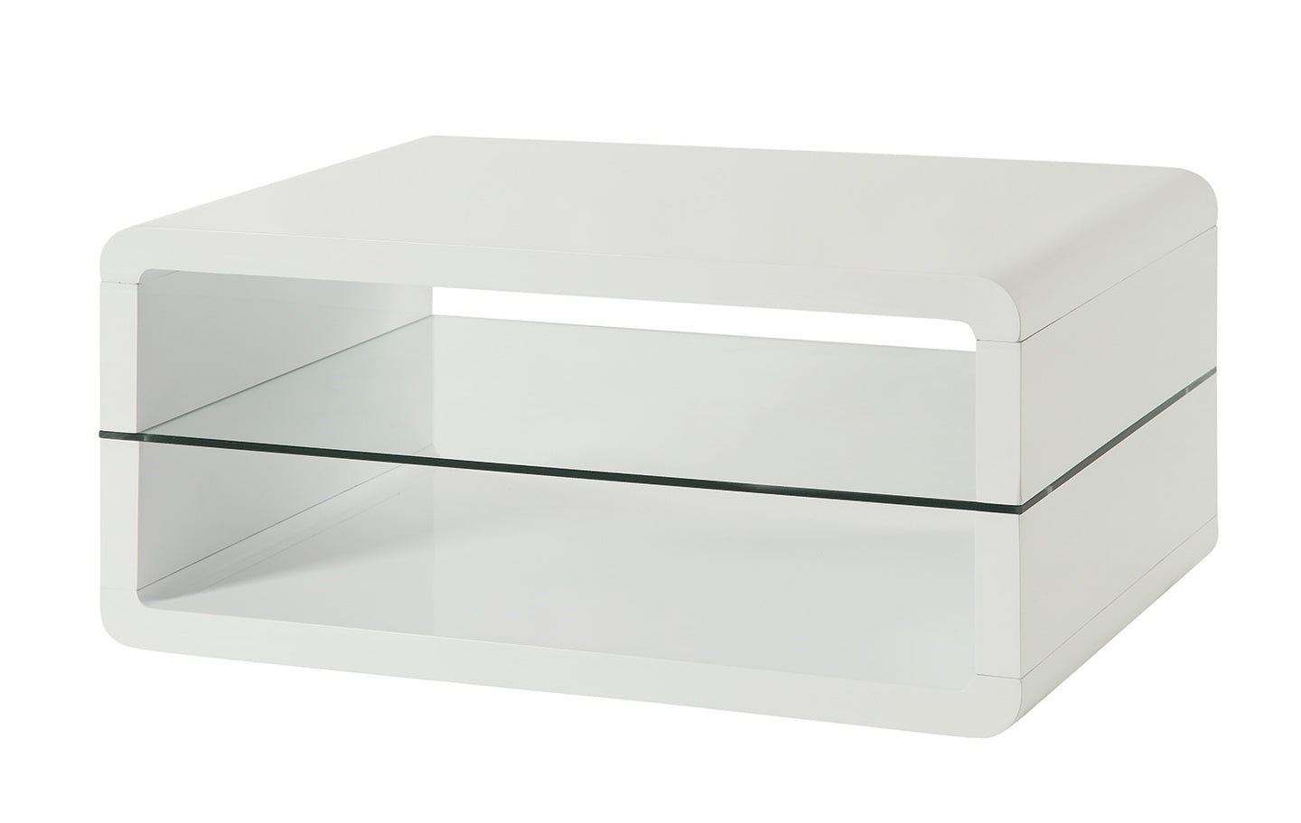 Coaster White Coffee Table with 2 Shelves