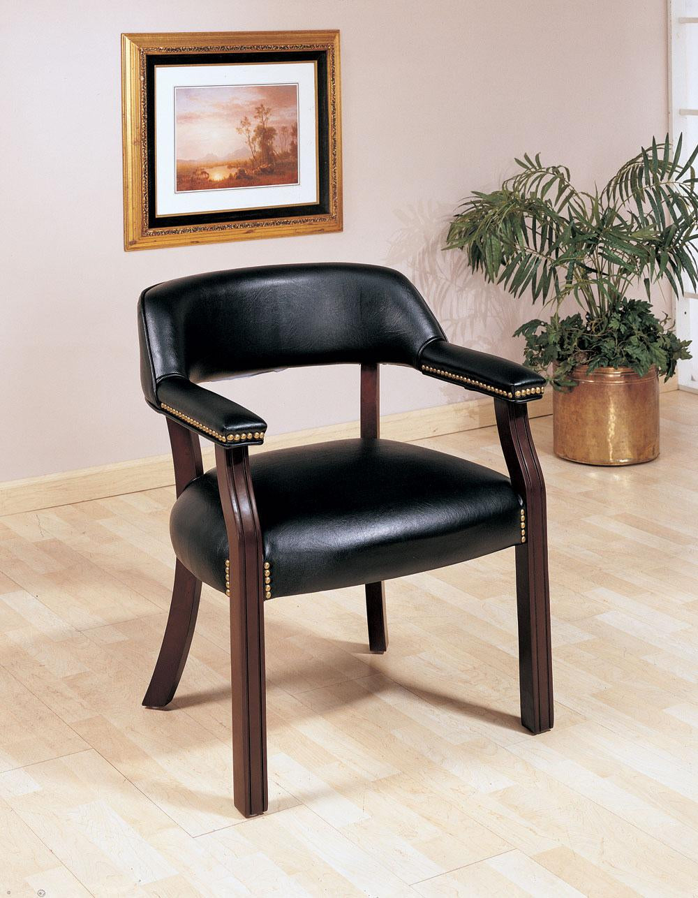 Coaster Black Upholstered Office Captain Assembled Chair