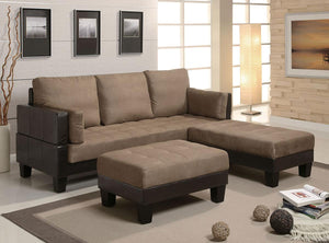 Homy Living Ellesmere Brown Microfiber Finish Futon Sofa Bed Set