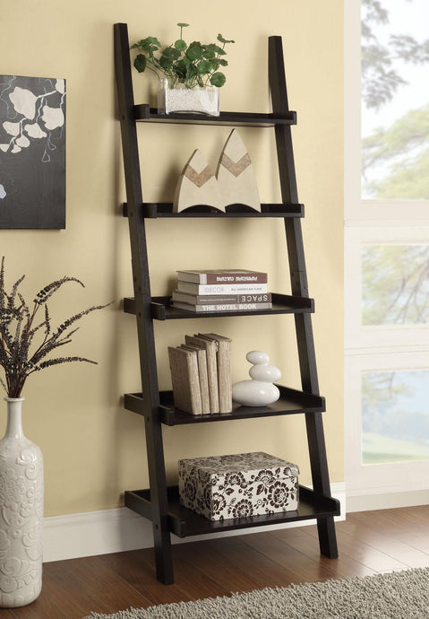 Cappuccino Ladder Bookcase with Shelves