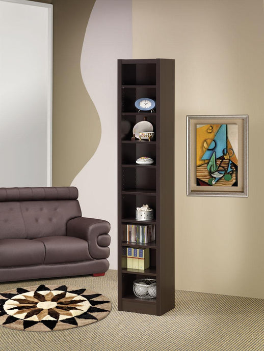 Cappuccino Tall Narrow Bookcase with Nine Shelves by
