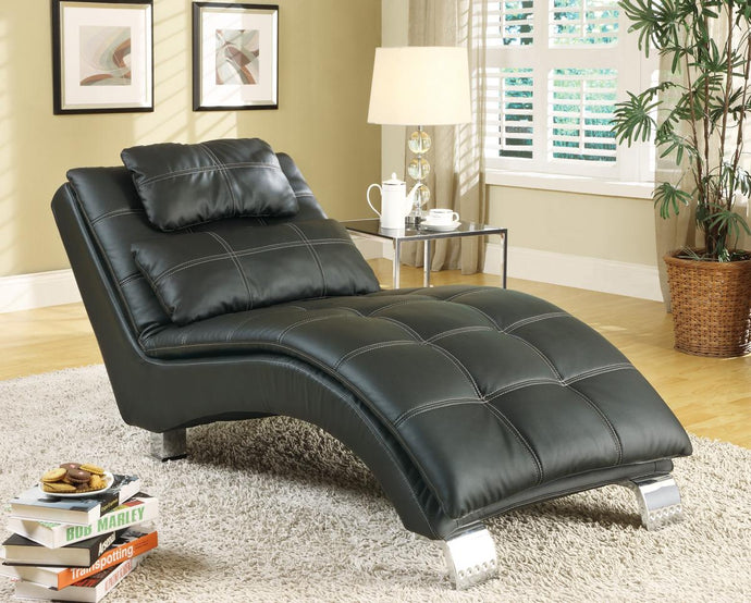 Dilleston Collection Black Upholstered Chaise w Pillow Top Seat