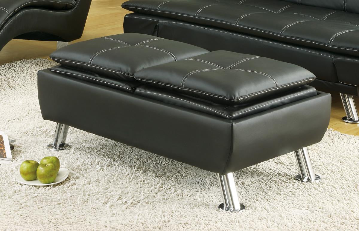 Coaster Dilleston Collection Black Leatherette Ottoman