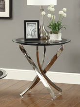 Load image into Gallery viewer, Coaster Chrome Tempered Glass Top End Table
