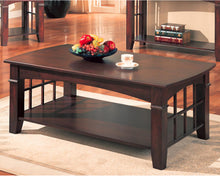 Load image into Gallery viewer, Coaster Cherry Abernathy Rectangular Coffee Table with Shelf