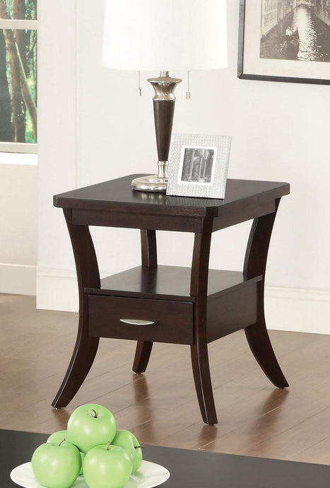 Espresso Flared Leg End Table with Drawer