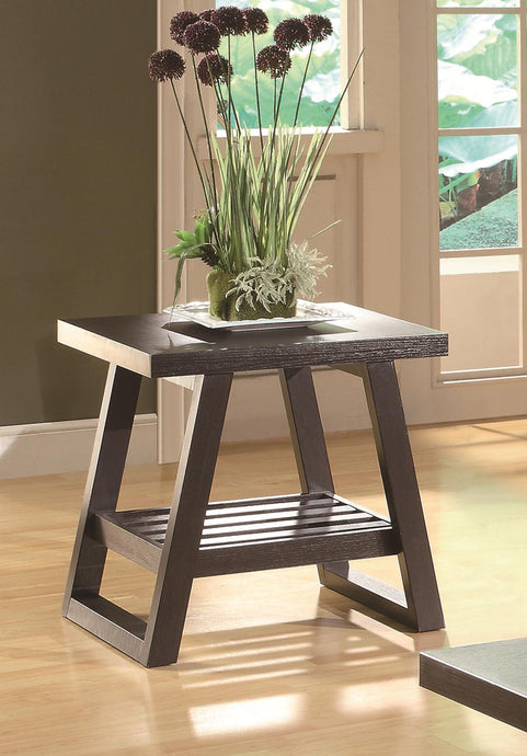 Coaster Cappuccino End Table with Slatted Bottom Shelf