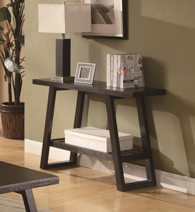 Coaster Cappuccino Sofa Table with Slatted Bottom Shelf