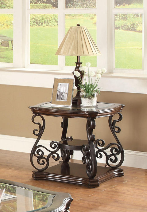Dark Brown End Table with Tempered Glass Top