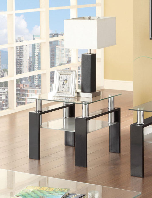 Nicolina Black Tempered Glass End Table
