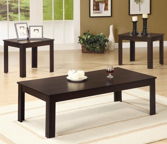 Walnut Wood Finish 3 Piece Coffee Table Set