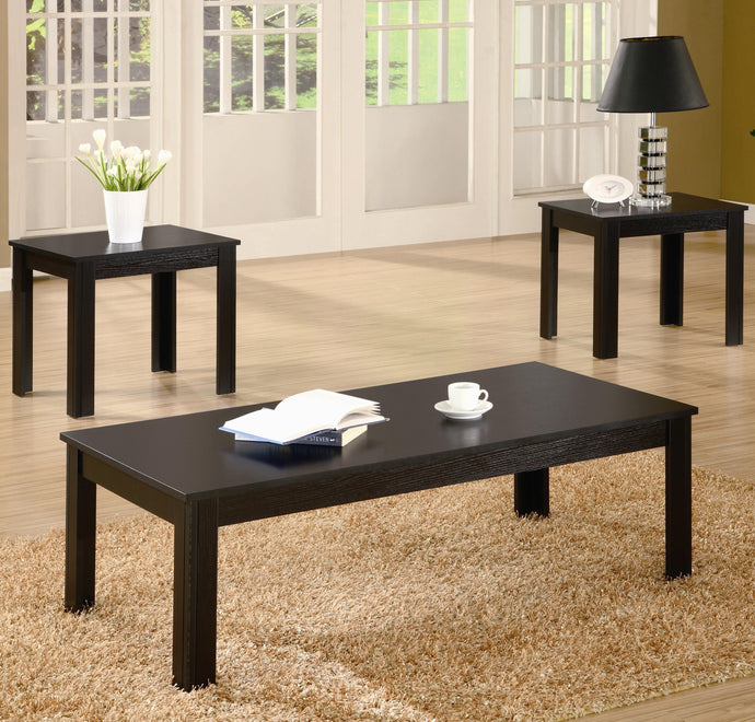 Black Wood Finish Contemporary 3 Piece Coffee Table Set