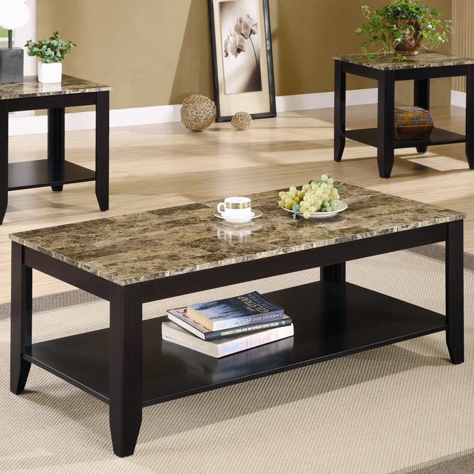 Coaster 3 Piece Marble Look Top Coffee Table Set