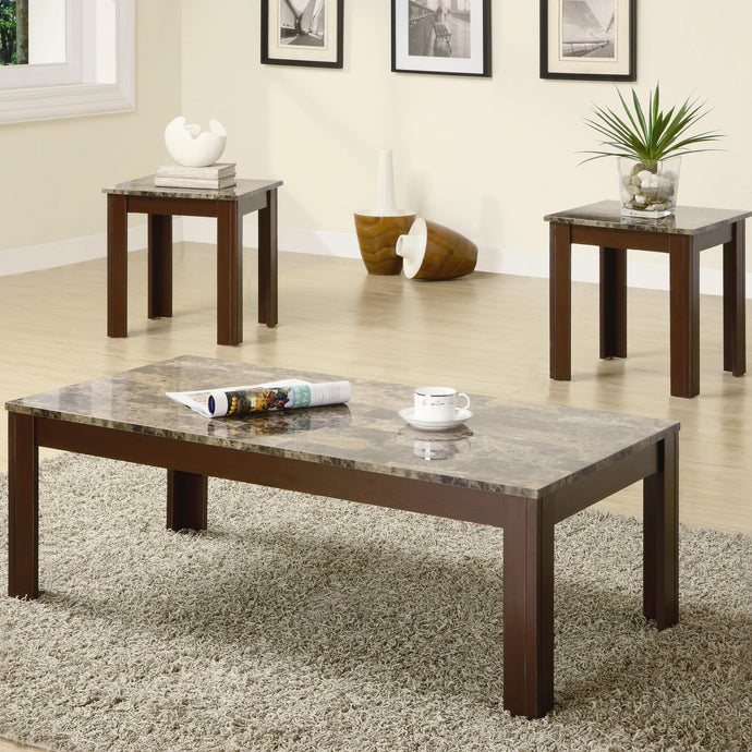 Brown Marble Top Wood Finish 3 Piece Coffee Table Set