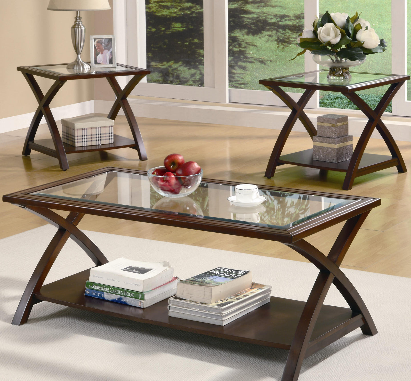 Coaster Cappuccino 3 Piece Coffee Table Set