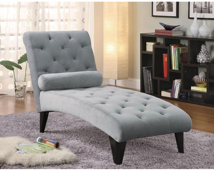 Gray Velour Button Tufted Chaise
