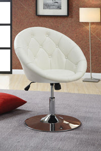Coaster White Leatherette Swivel Accent Chair