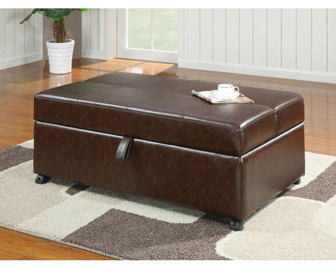 Dark Brown Leatherette Ottoman with Sleeper