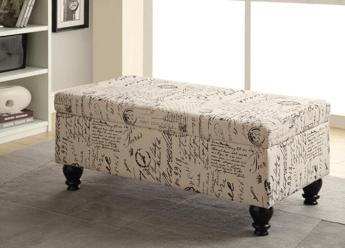 Coaster White Grey Linen Like Fabric Storage Bench
