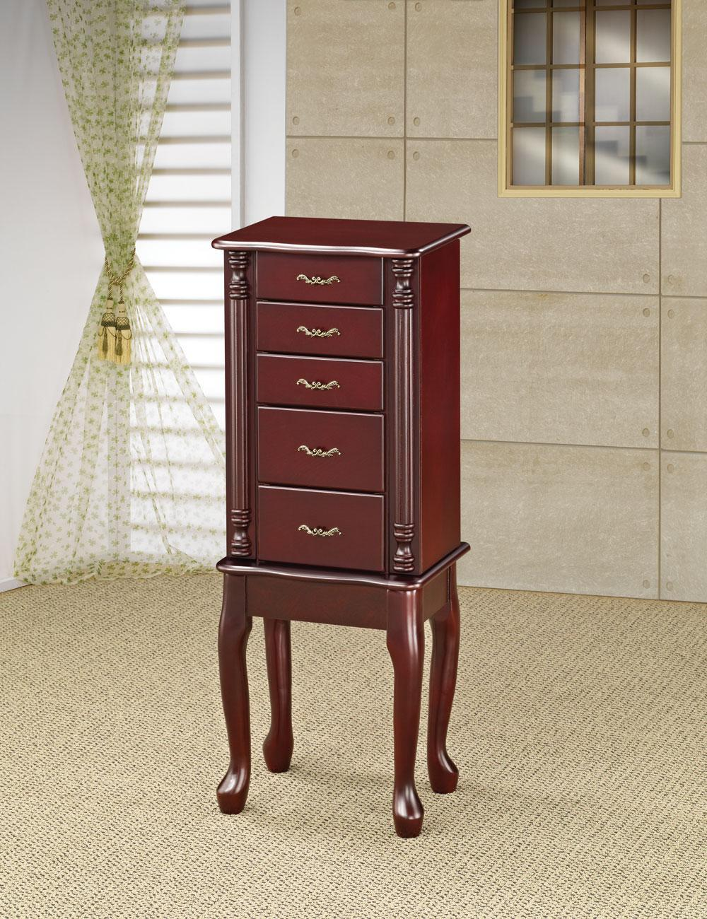 Traditional Style Cherry Jewelry Armoire