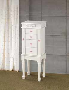 Coaster Contemporary Style White Jewelry Armoire