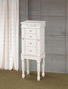 Contemporary Style White Jewelry Armoire