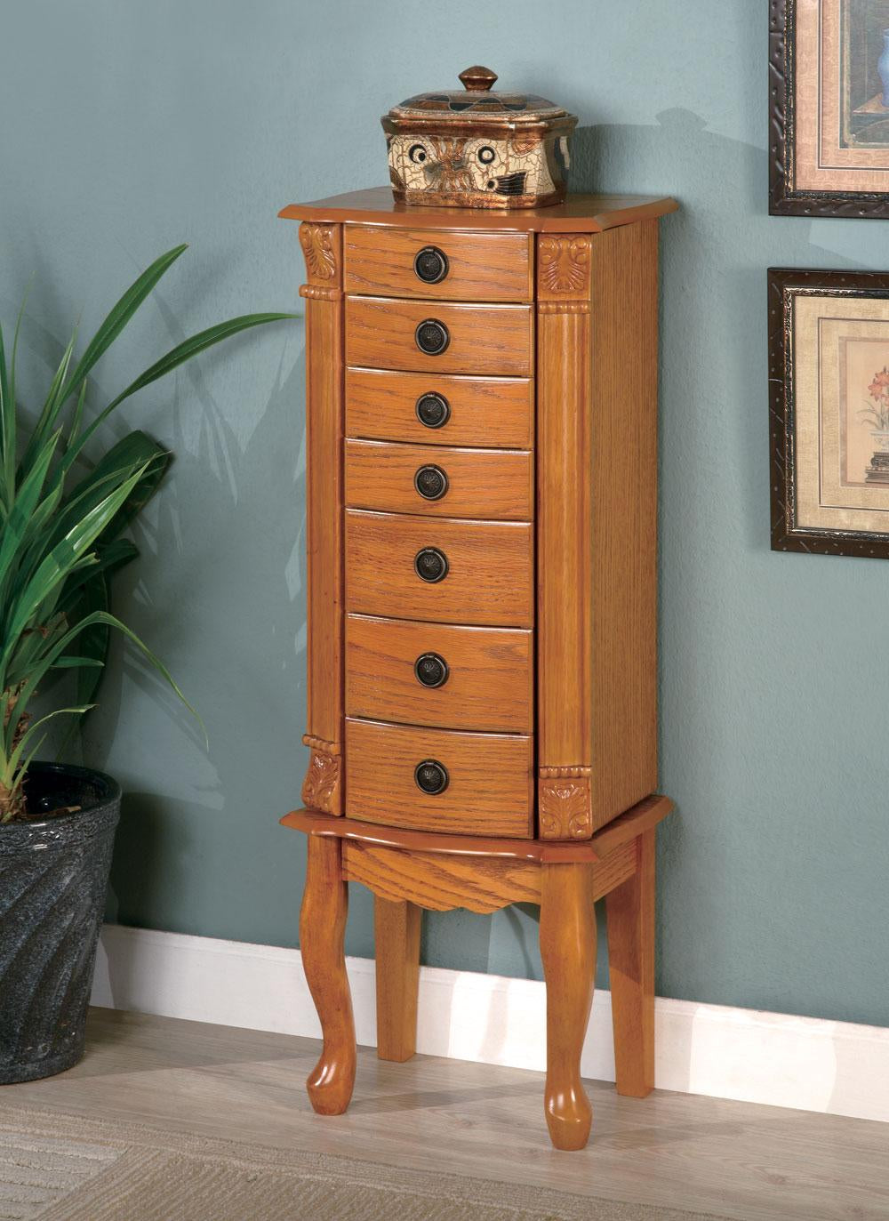 Coaster Traditional Style Warm Oak Jewelry Armoire