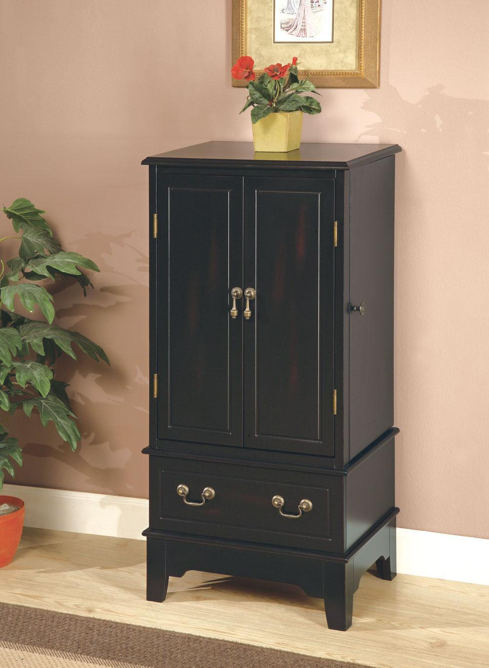 Rubbed Through Black Jewelry Armoire
