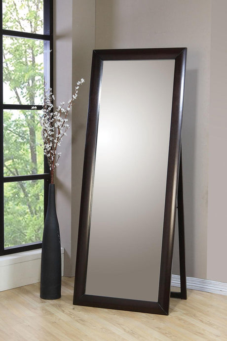 Transitional Style Cappuccino Floor Mirror