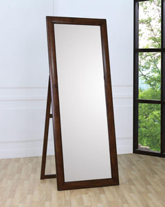 Casual Style Walnut Floor Mirror