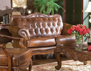 Homy Living Warm Brown Leather Finish Classic Loveseat