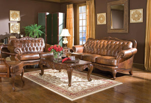 Warm Brown Classic Leather Living Room Sofa Set
