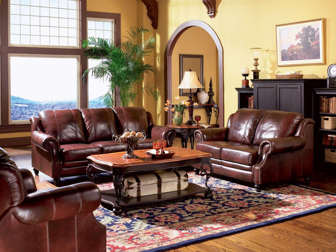 Princeton Burgundy Leather Sofa Set With Recliner Chair