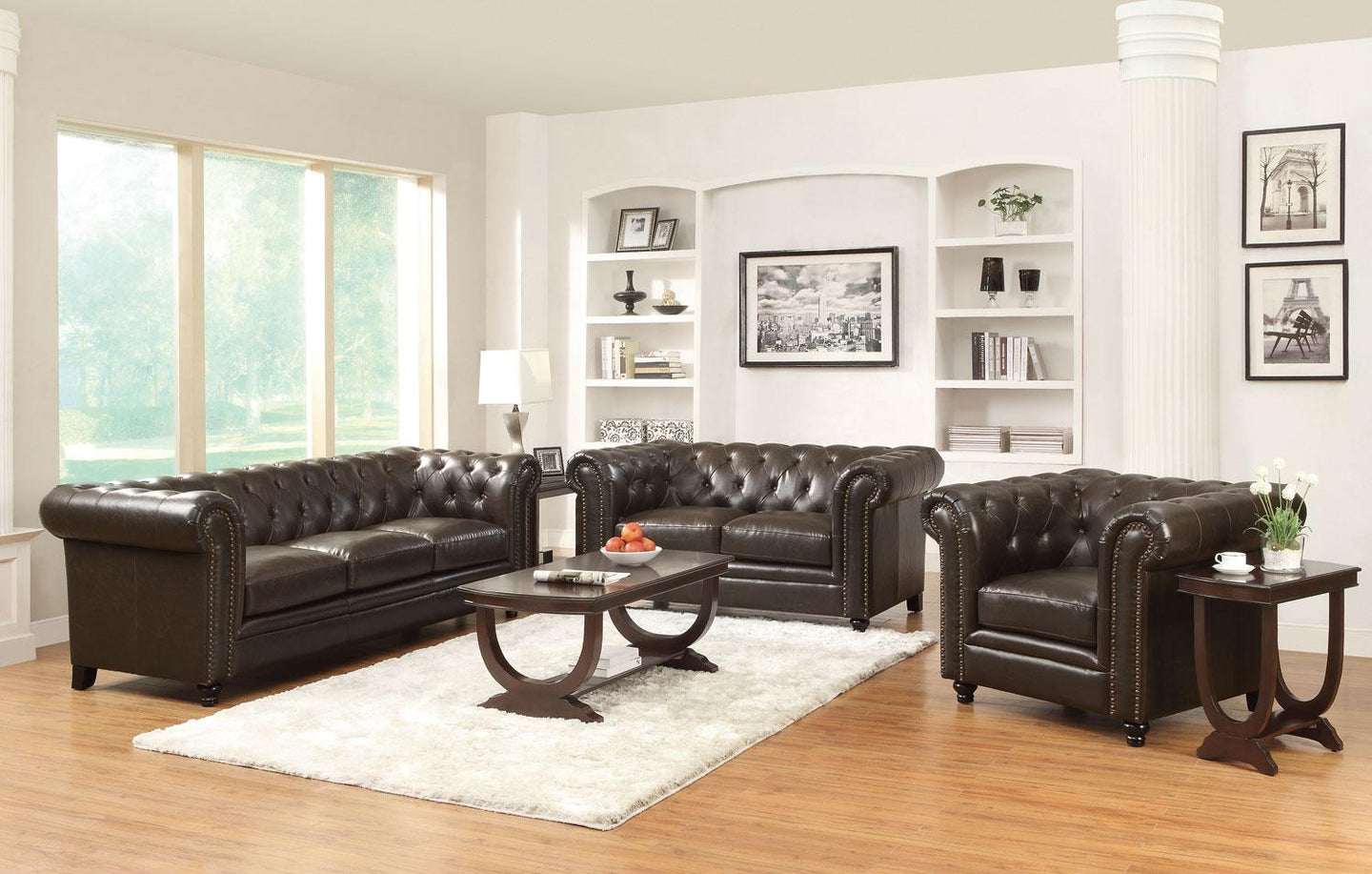 Coaster 3 Piece Roy Dark Brown Leather Match Living Room Sofa Set