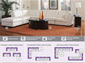 Coaster Quinn White Sectional Sofa