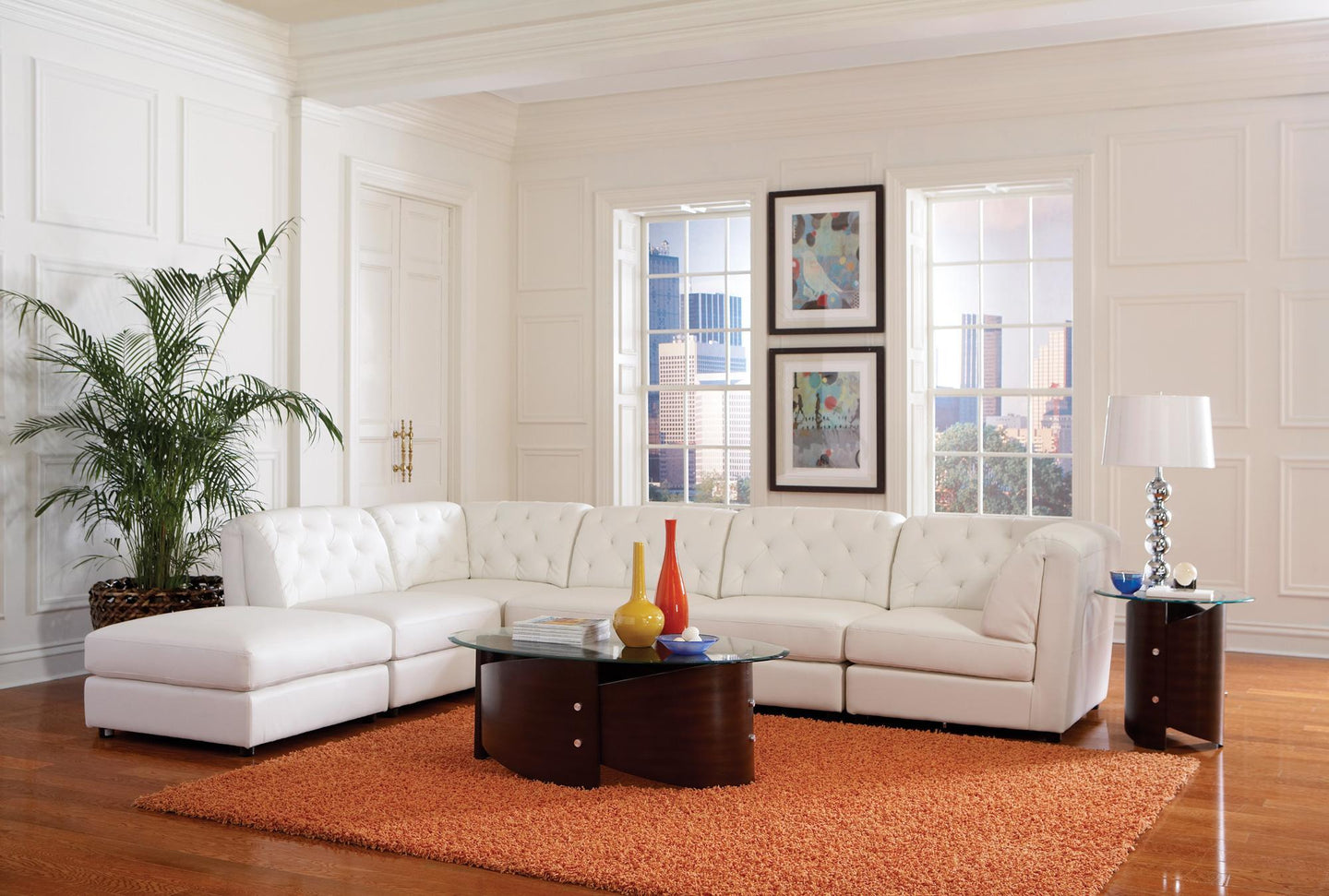 Quinn White Bonded Leather Finish Sectional Sofa