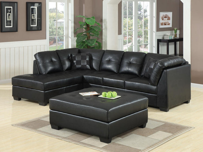 Homy Living Darie Black Bonded Leather Sectional Sofa With Ottoman