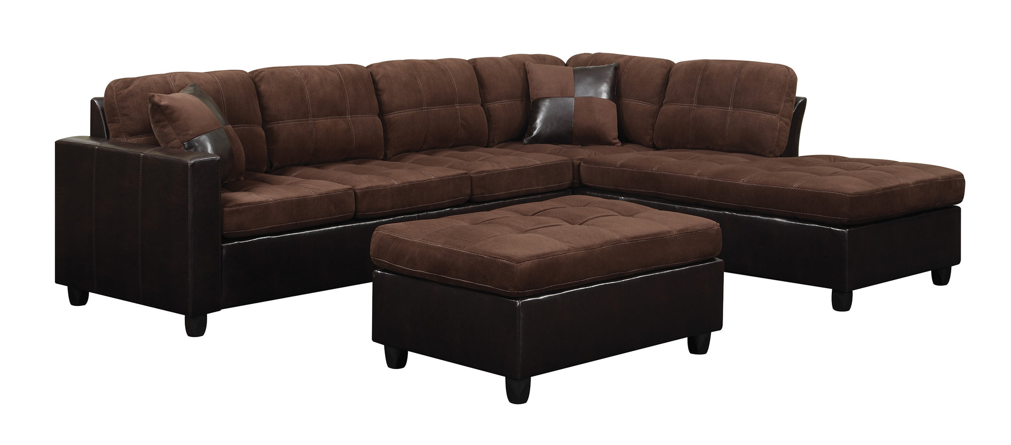 Coaster 505655 Mallory Chocolate Reversible Sectional Sofa Ottoman ...