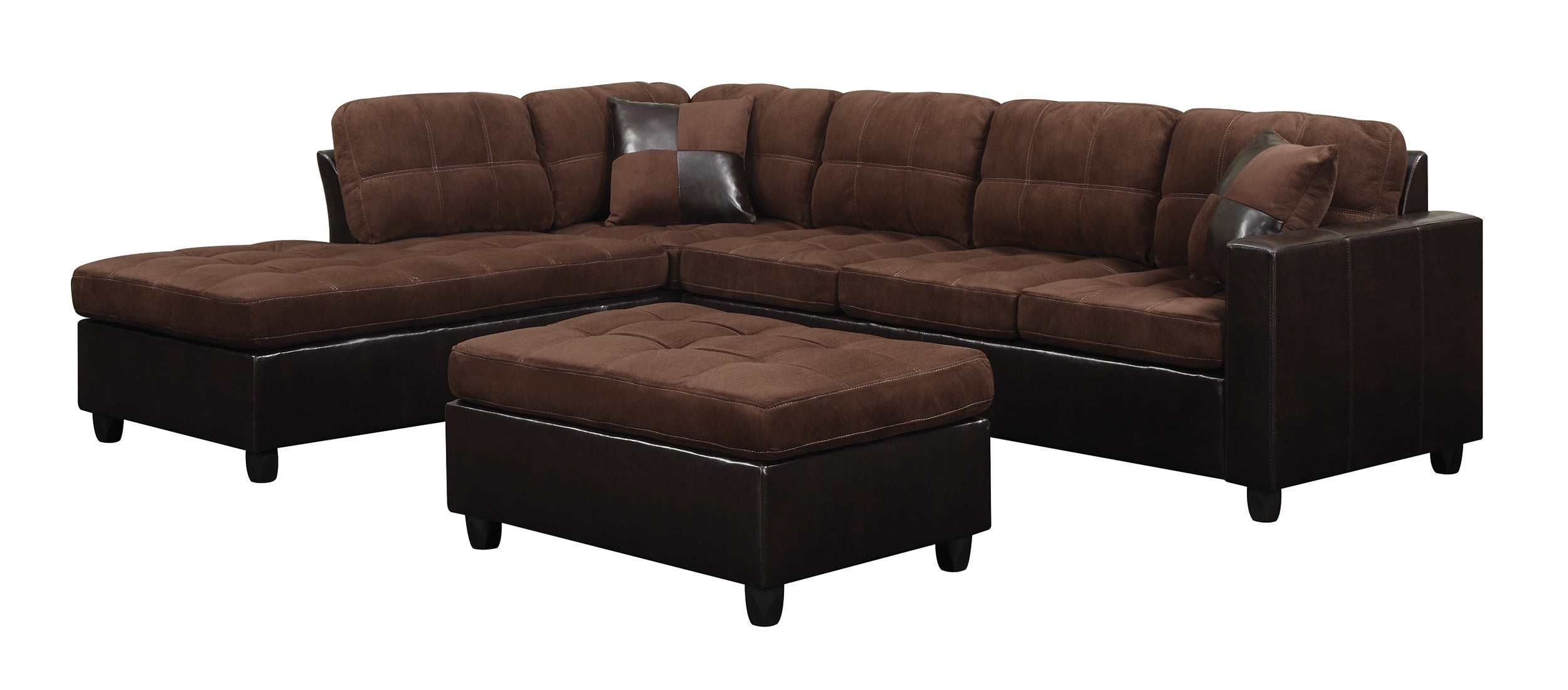 Coaster Mallory Chocolate Reversible Sectional Sofa Ottoman
