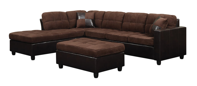 Mallory Chocolate Reversible Sectional Sofa Ottoman